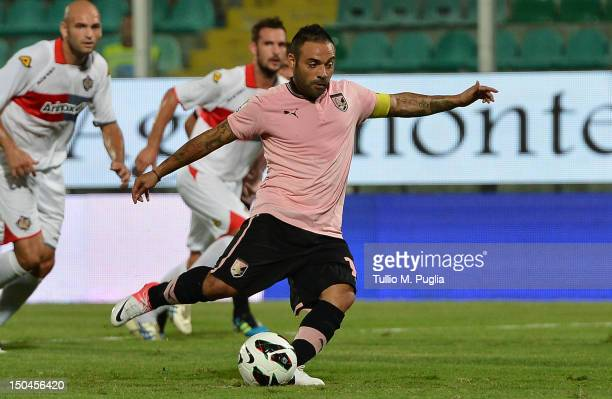 Fabrizio Miccoli of Palermo scores the opening goal from the penalty spot during the TIM Cup match between US Citta di Palermo and US Cremonese at...