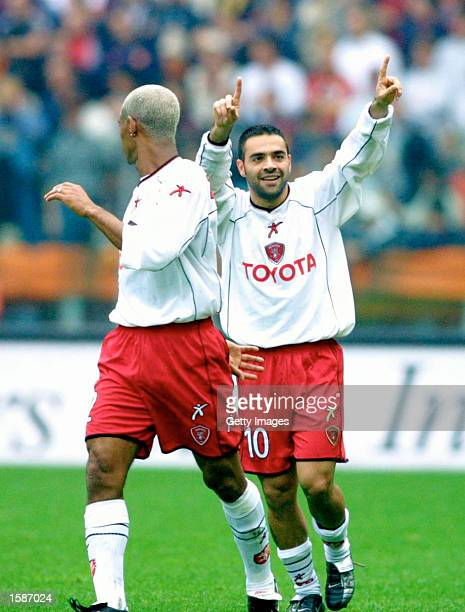 Fabrizio Miccoli of Perugia celebrates scoring during the Serie A match between Roma and Perugia, played at the Olympic Stadium, Rome, Italy on...