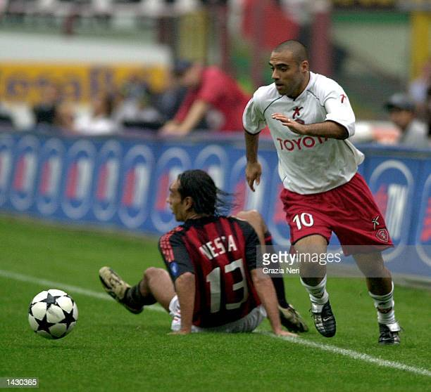 Fabrizio Miccoli of Perugia in action during the Serie A match between AC Milan and Perugia, played at the Guiseppe Meazza, San Siro Stadium, Milan,...