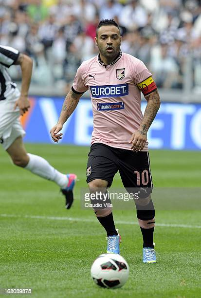 Fabrizio Miccoli of US Citta di Palermo in action during the Serie A match between Juventus and US Citta di Palermo at Juventus Arena on May 5 2013...