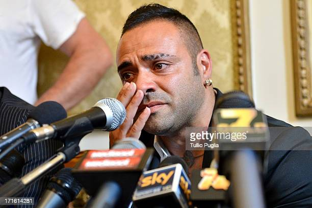 Fabrizio Miccoli reacts during a press conference at Excelsior Palace Hotel on June 27 2013 in Palermo Italy