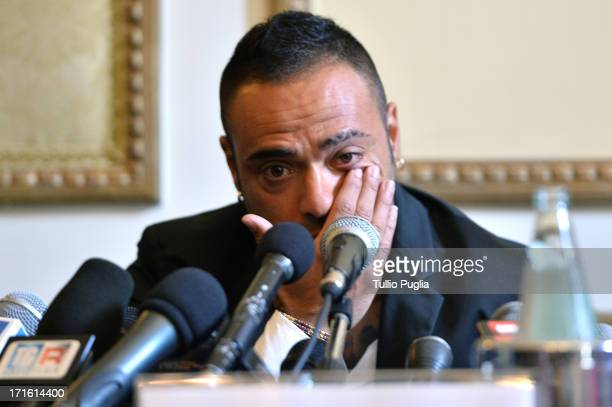 Fabrizio Miccoli reacts during a press conference at Excelsior Palace Hotel on June 27, 2013 in Palermo, Italy.