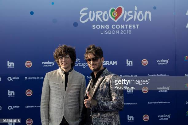 Fabrizio Moro and Ermal Meta of Italy attends the red carpet before the Eurovision private party on May 6 2018 in Lisbon Portugal
