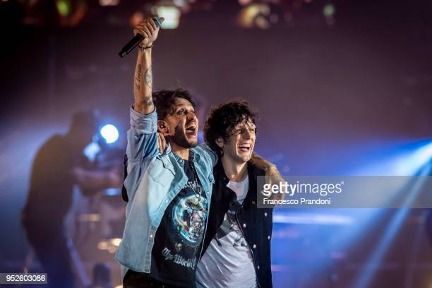 Fabrizio Moro and Ermal Meta perform on stage at Mediolanum Forum on April 28 2018 in Milan Italy