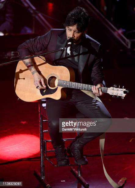 Fabrizio Moro on stage during the fourth night of the 69th Sanremo Music Festival at Teatro Ariston on February 08 2019 in Sanremo Italy
