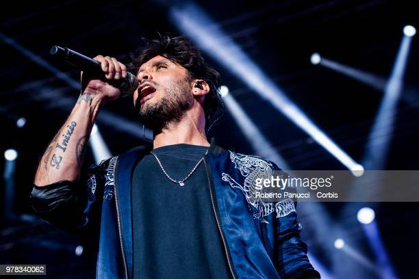 Fabrizio Moro perform on stage on June 16 2018 in Rome Italy
