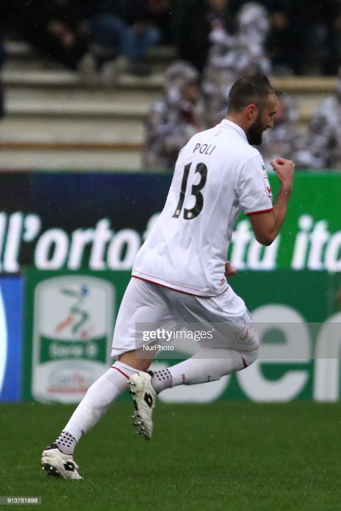 Fabrizio Poli (FC Carpi) celebrates a goal during Italy Serie B match between US Salernitana and Carpi FC at Stadium Arechi in Salerno, Italy, on 2 February 2018.