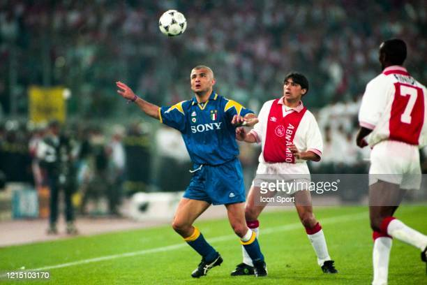 Fabrizio RAVANELLI of Juventus and Sonny SILOOY of Ajax during the Champions League Final match between Ajax Amsterdam and Juventus Turin at Stadio...