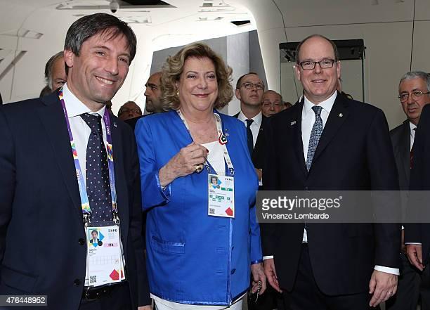 Fabrizio Sala Diana Bracco and Prince Albert II Of Monaco visit the Italian Pavilion at Expo 2015 on June 9 2015 in Milan Italy