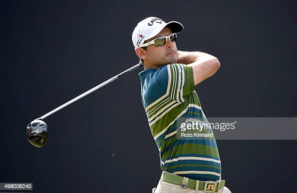 Fabrizio Zanotti of Paragua on the 3rd tee during the second round of the DP World Tour Championship on the Earth Course at Jumeirah Golf Estates on...
