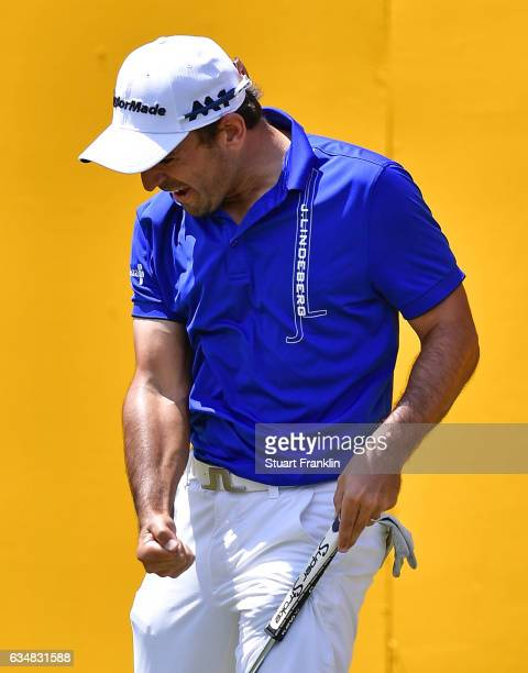 Fabrizio Zanotti of Paraguay celebrates his eagle putt on the 18th hole during the final day of the Maybank Championship Malaysia at SaujanaGolf Club...