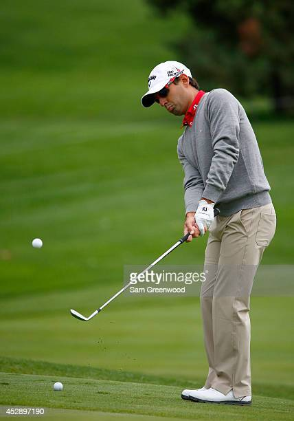 Fabrizio Zanotti of Paraguay hits a shot during a practice round for the World Golf ChampionshipsBridgestone Invitational at Firestone Country Club...