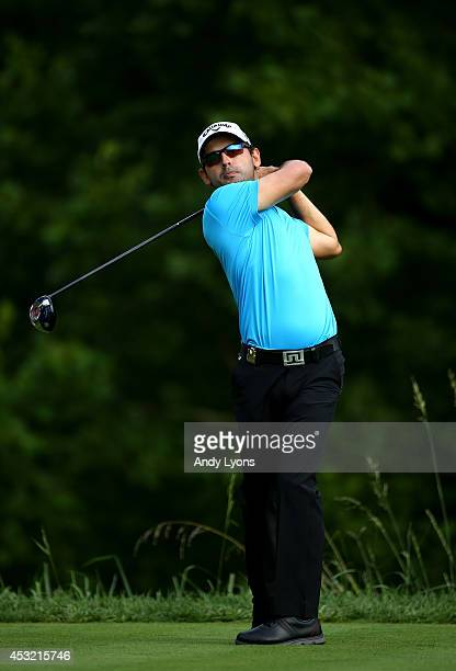 Fabrizio Zanotti of Paraguay hits a tee shot during a practice round prior to the start of the 96th PGA Championship at Valhalla Golf Club on August...