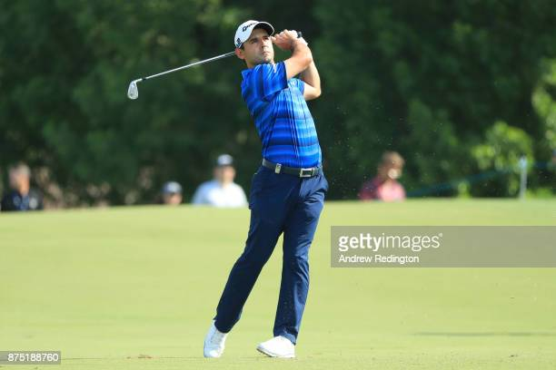 Fabrizio Zanotti of Paraguay hits his second shot on the 1st hole during the second round of the DP World Tour Championship at Jumeirah Golf Estates...