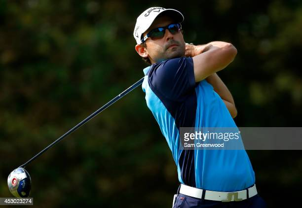 Fabrizio Zanotti of Paraguay hits off the 13th tee during the second round of the World Golf ChampionshipsBridgestone Invitational at Firestone...