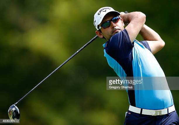 Fabrizio Zanotti of Paraguay hits off the sixth tee during the second round of the World Golf ChampionshipsBridgestone Invitational at Firestone...