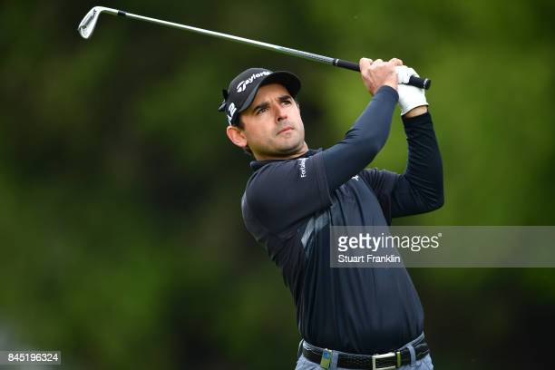 Fabrizio Zanotti of Paraguay plays a shot on the 2nd hole during Day Five of the Omega European Masters at CranssurSierre Golf Club on September 10...