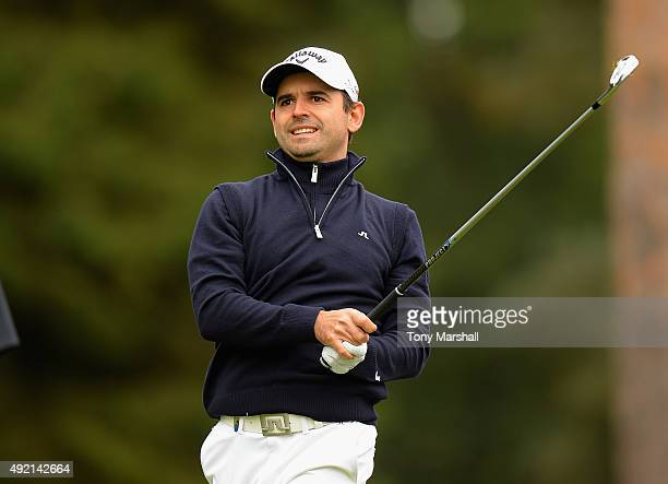 Fabrizio Zanotti of Paraguay Plays his first shot on the 9th tee during the third round of the British Masters supported by Sky Sports at Woburn Golf...
