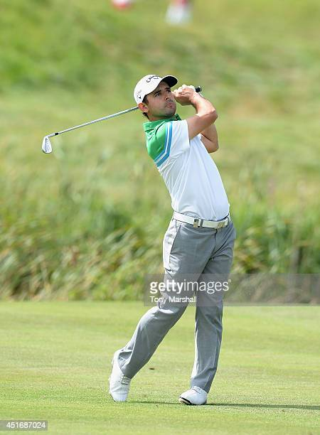 Fabrizio Zanotti of Paraguay plays his second shot on the 10th fairway during the Alstom Open de France Day Two at Le Golf National on July 4 2014 in...