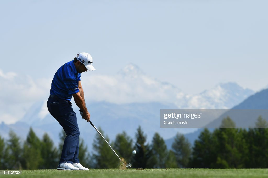 Fabrizio Zanotti of Paraguay plays his second shot on the 12th during Day Two of the 2017 Omega European Masters at Crans-sur-Sierre Golf Club on September 8, 2017 in Crans-Montana, Switzerland.
