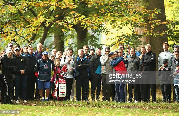 Fabrizio Zanotti of Paraguay plays his second shot on the third hole during the final round of the British Masters supported by Sky Sports at Woburn...