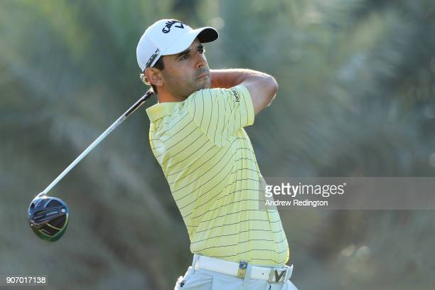 Fabrizio Zanotti of Paraguay plays his shot from the ninth tee during round two of the Abu Dhabi HSBC Golf Championship at Abu Dhabi Golf Club on...