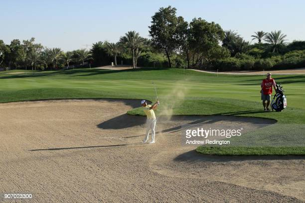 Fabrizio Zanotti of Paraguay plays his third shot on the eighth hole during round two of the Abu Dhabi HSBC Golf Championship at Abu Dhabi Golf Club...