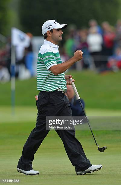 Fabrizio Zanotti of Paraguay reacts on the 18th green during a 4 way play off the fourth round of the BMW International Open at Golf Club Gut...