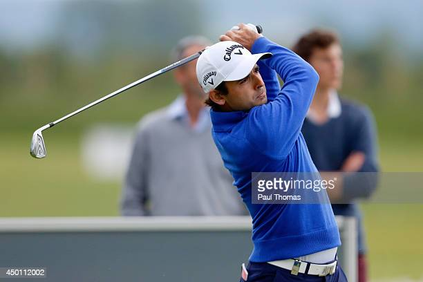 Fabrizio Zanotti of Paraguay tees off during the Lyoness Open day one at the Diamond Country Club on June 5 2014 in Atzenbrugg Austria