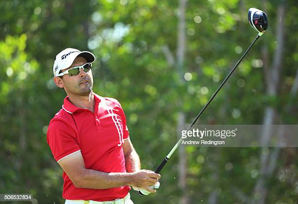 Fabrizio Zanotti of Paraguay tees off on the 5th hole during round four of the Abu Dhabi HSBC Golf Championship at the Abu Dhabi Golf Club on January...