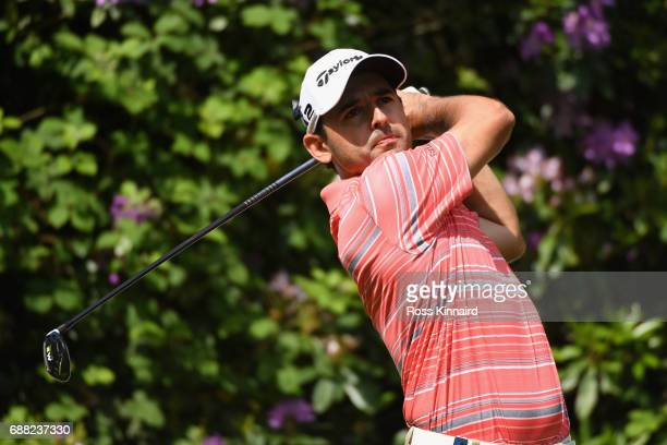 Fabrizio Zanotti of Paraguay tees off on the 7th hole during day one of the BMW PGA Championship at Wentworth on May 25 2017 in Virginia Water England