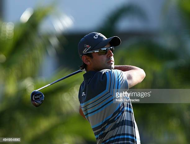Fabrizio Zanotti of Paraguay watches his tee shot on the 9th tee during the second round of the Turkish Airlines Open at The Montgomerie Maxx Royal...