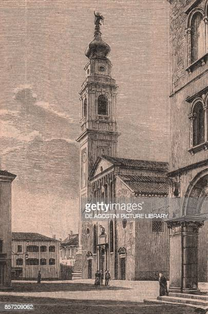 Facade and bell tower of St Martin's Cathedral Belluno Veneto Italy woodcut from Le Cento citta d'Italia illustrated monthly supplement of Il Secolo...