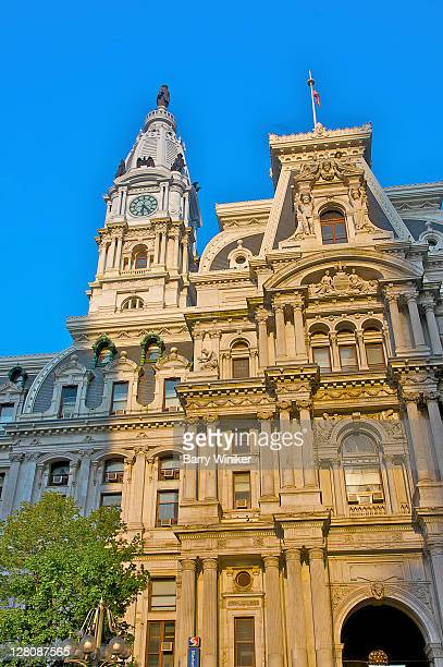 Facade and clocktower, Philadelphia City Hall, world's tallest masonry building with William Penn bronze statue at top, Center City, Philadelphia, Pennyslvania