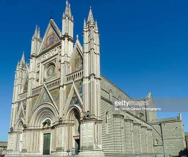 Facade and side view of Duomo di Orvieto, Italy
