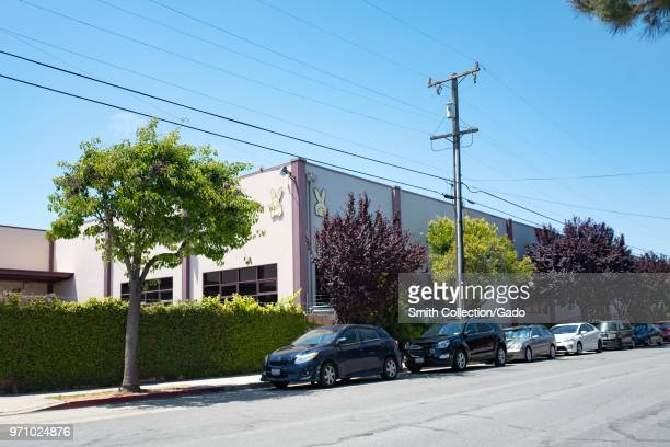Facade at headquarters of Annie's Homegrown an organic food maker owned by General Mills in Berkeley California with iconic 'Bernie' rabbit logo...
