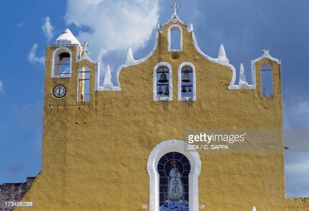 Facade Convent of St Anthony of Padua Izamal Yucatan Mexico Detail