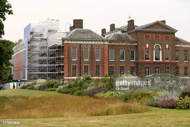 A facade depicting the completed restoration covers the scaffolding surrounding the Southern end of Kensington Palace on June 27 2013 in London...