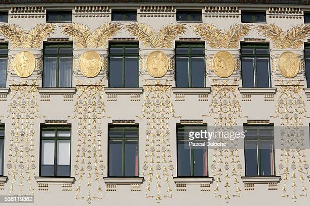 facade detail at linke wienzeile 38 - art nouveau stock pictures, royalty-free photos & images