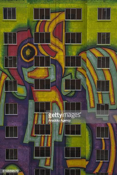 Facade detail of one of the new buildings of the residential area 'Wiphala', a government's social housing project where renowned Aymara artist...