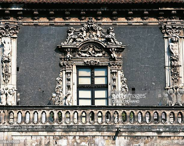 Facade detail of Rococo' decorations Palazzo Biscari Catania Sicily Italy 18th century