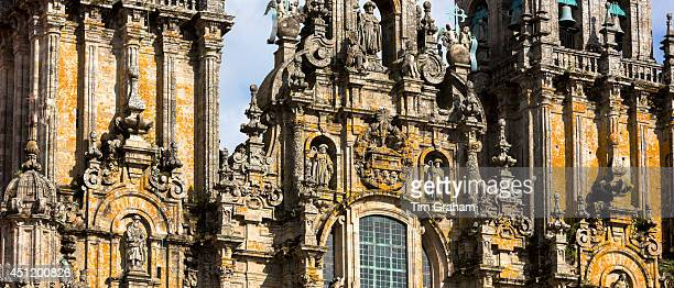 Facade do Obradoiro of the Baroque style 11th Century Roman Catholic cathedral Catedral de Santiago de Compostela Galicia Spain