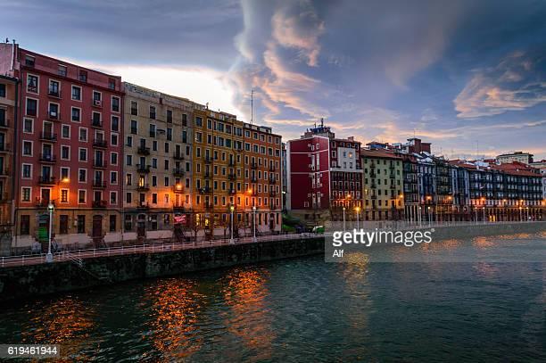 Facade facing Nervion river,  Bilbao, Spain