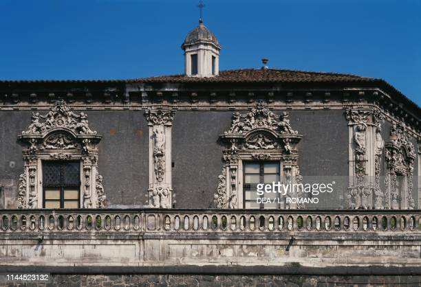 Facade facing the marina rococostyle detail Biscari palace Catania Sicily Italy 18th century