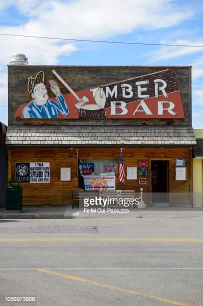facade of a bar at big timber, montana, usa - feifei cui paoluzzo stock pictures, royalty-free photos & images