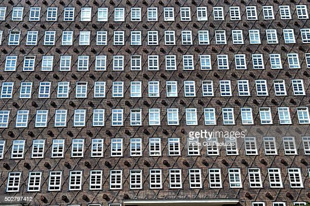 Facade of a brick building at Hamburg Germany