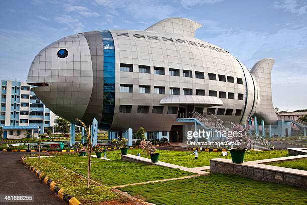 Facade of a building Fish Building Hyderabad Andhra Pradesh India