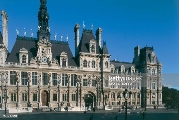 Facade of a building Hotel De Ville Paris France