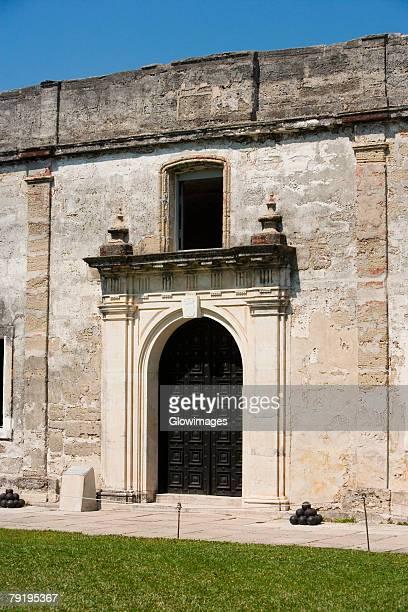 facade of a castle, castillo de san marcos national monument, st augustine, florida, usa - castillo de san marcos stock photos and pictures