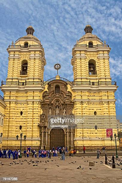 facade of a cathedral, san francisco church and convent, lima, peru - lima animal stock pictures, royalty-free photos & images